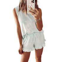 Light Green Tie Dye Sleeveless Pajama Set TQK710044-28