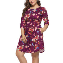 Floral Print Plus Size Boho Dress in Wine Red