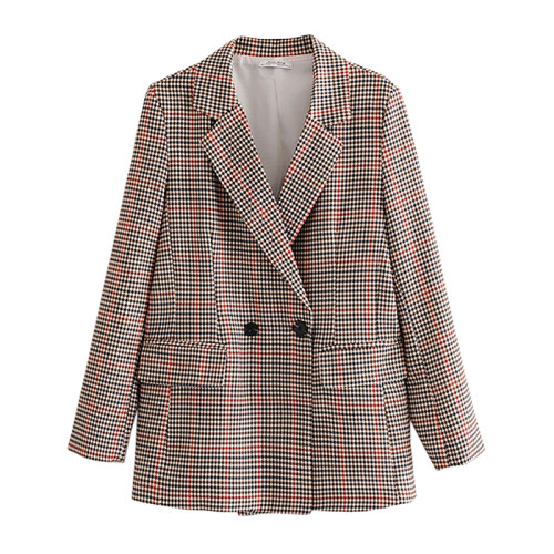 Brown Houndstooth Double Row Button Lady Blazer Suit TQK260039-17