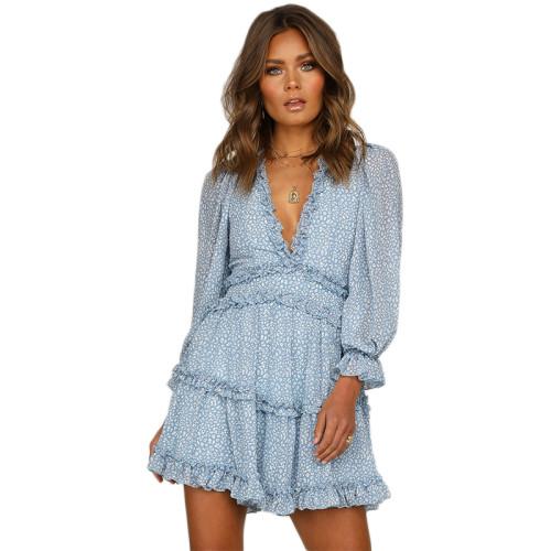 Light Blue V Neck Puff Sleeve Comfort Dress TQK310171-30