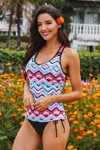 Gray Printed Racerback Tank Swim Top LC412302-11
