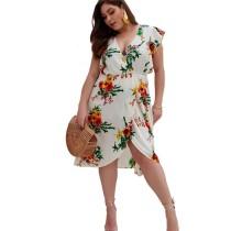White V Neck Floral Print Plus Size Dress
