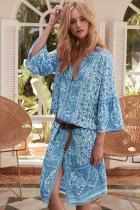 Sky Blue Three-Quarter Sleeve Mid-Calf Print Dress LC611228-4