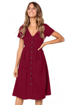 Red Stylish Button Front Midi Dress with Pockets