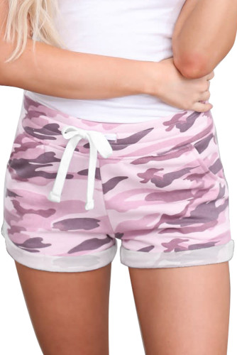 Pink Camo Print Cotton Casual Shorts LC77360-10