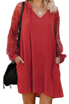 Red Lace Long Sleeves Shift Above Knee Dress LC221094-3