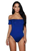 Blue Off Shoulder Bodysuit