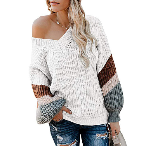 White V Neck Loose Knit Sweater TQK270019-1