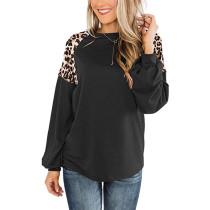 Black Splice Leopard Long Sleeve Tops TQK210426-2