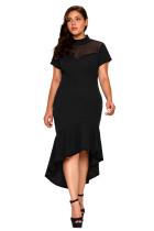 Black Mesh Insert Ruffled Hi-low Hem Curvy Dress