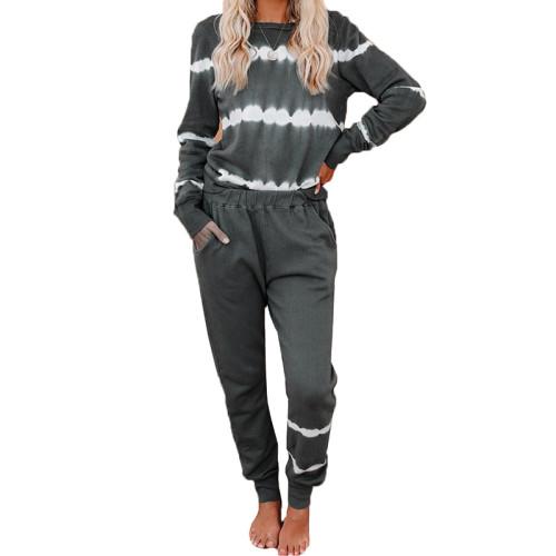 Gray Striped Long Sleeve Pant Set Loungewear TQK710110-11