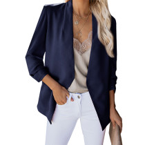 Navy Blue 3/4 Sleeve Lightweight Blazer With Pockets TQK260015-34 (This items size is smaller, pls s
