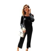 Black Back Zip Drop Shoulder Jumpsuit with Pocket