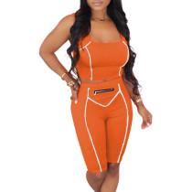 Orange Zip Detail Bodycon Shorts Set TQK710088-14