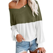 Army Green White Color Block Off Shoulder Tops TQK210256-27
