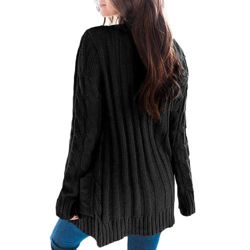 Black Button Down Pocketed Knit Cardigan TQK271080-2