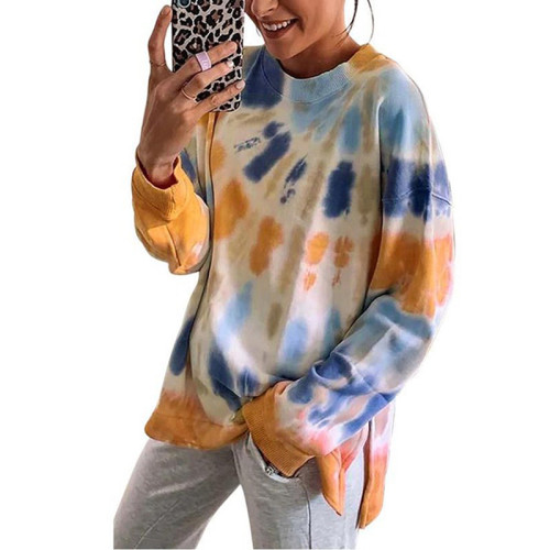 Yellow Cotton Blend Tie Dye Plus Size Sweatshirt TQK210431-7