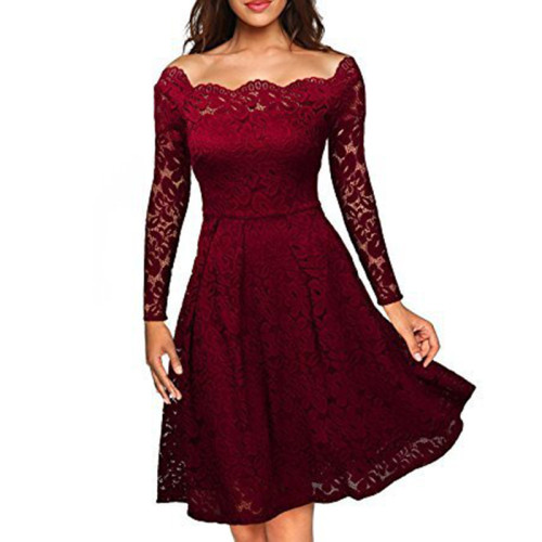 Wine Scalloped Off Shoulder Long Flared Sleeve Lace Dress TQS350022-103