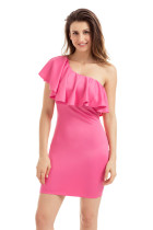 Pink One Shoulder Party Cocktail Mini Dress