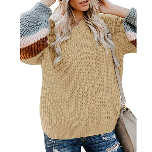 Khaki V Neck Loose Knit Sweater TQK270019-21