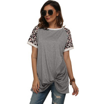 Gray Splice Leopard Print Short Sleeve Tees TQS210034-11