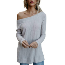 White Off Shoulder Knit Sweater