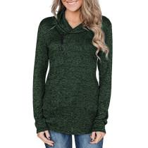 Dark Green Zipper Heap Collar Pullover Hoodie TQK230023-36