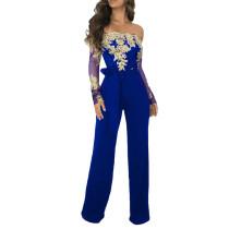 Blue Floral Sleeve Wide Leg Strapless Jumpsuit