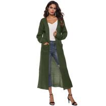 Army Green Split Long Cardigan With Pockets TQK270039-27