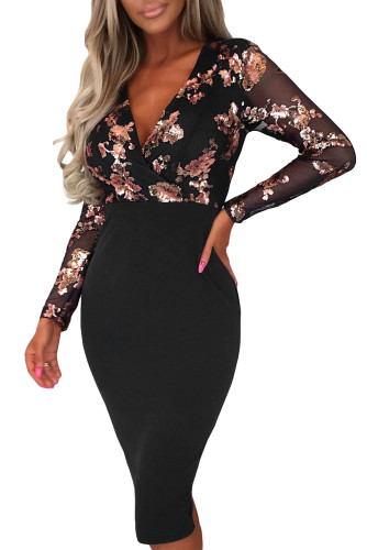 Celebrity Scandal Black Sequin Long Sleeve Midi Dress LC611604-2
