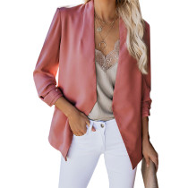 Pink 3/4 Sleeve Lightweight Blazer With Pockets TQK260015-10 (This items size is smaller, pls select
