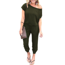Army Green One Shoulder Short Sleeve Jumpsuit