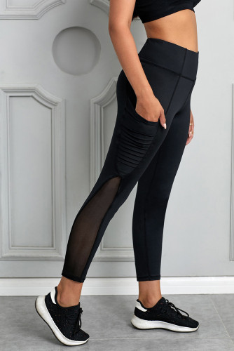 Black Moto Pocketed Leggings LC26083-2