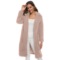 Pink Turndown Collar Long Furry Coat TQK280041-10