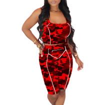 Red Camouflage Print Zip Detail Bodycon Shorts Set TQK710089-3