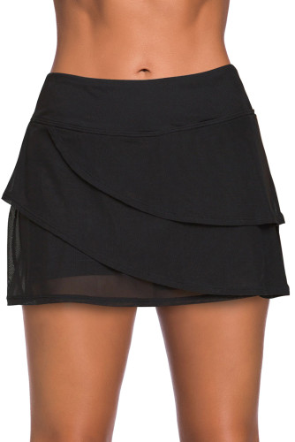 Black Tiered Swim Culotte LC412191-2