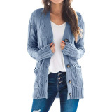 Blue Button Down Pocketed Knit Cardigan TQK271080-5