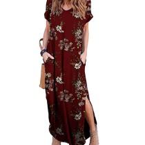 Wine Red Floral Print Short Sleeve Slit Maxi Dress