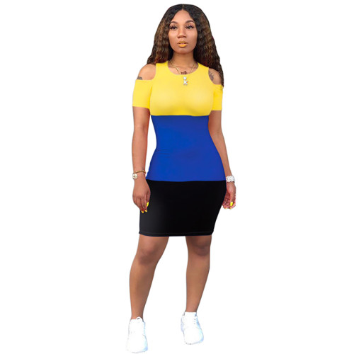 Blue Colorblock Cold Shoulder Bodycon Dress TQS310079-5