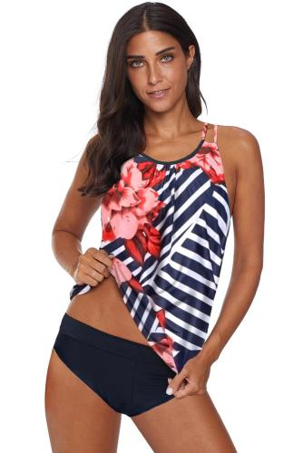 Red Floral Print Criss Cross Hollow-out Tankini Swimwear LC412066-5