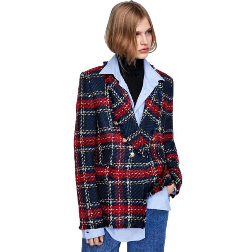 Red Plaid Print Button Blazer Suit TQK260032-3