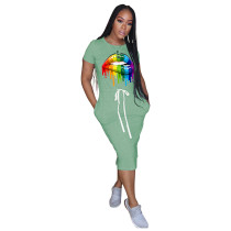 Light Green Lips Print Elastic Waist Casual Dress TQK310322-28
