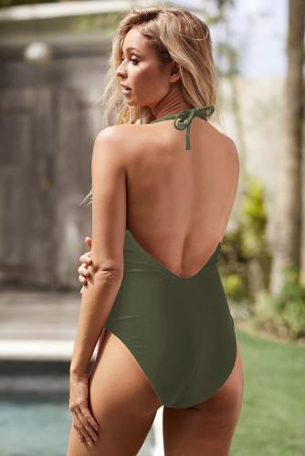 Green Wrap V Neck Sash Backless One-piece Swimwear LC411955-9