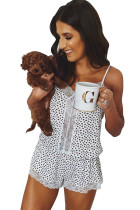 Lace Trim Cheetah Cami Pajamas Set LC45027-1
