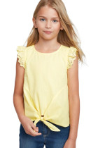 Yellow Eyelet Sleeve Tie-front Top TZ25100-7