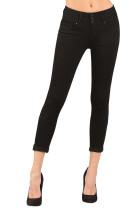 Black Cuffed Butt Lifting Skinny Jeans