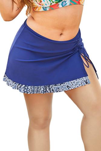 Blue Printed Hemline Plus Size Swim Skirt with Slit LC412132-5