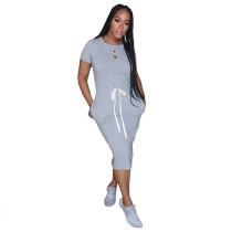 Gray Elastic Waist Short Sleeve Casual Dress TQK310321-11