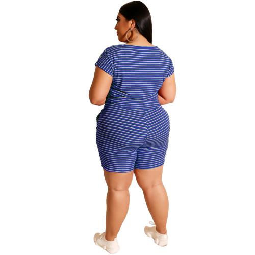 Blue Striped Print Plus Size Shorts Pajama Set TQK710062-5
