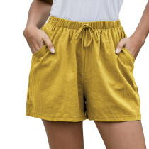Yellow Pocketed Loose Flax Shorts TQK530012-7
